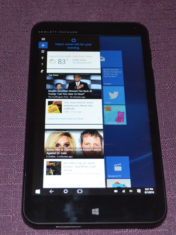 HP Stream 7 running Windows 10
