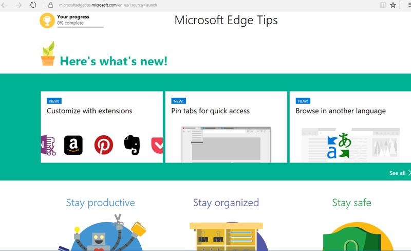 Windows 10 Anniversary Update Edge