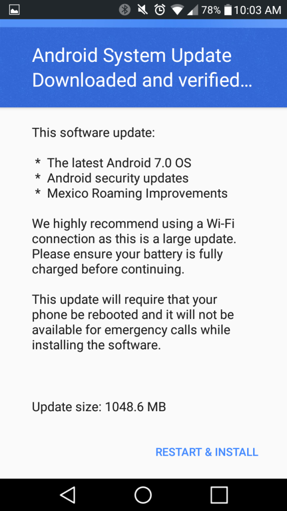 Android 7.0 update on LG Stylo 2