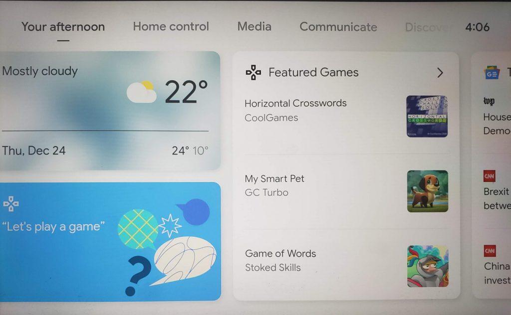 Smart Display Games Menu