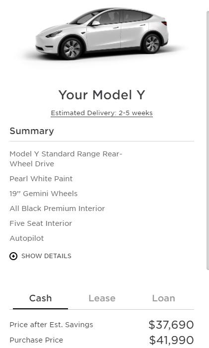 Tesla Model Y Standard Range base model is priced at $41,990.